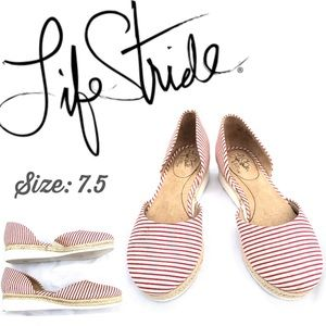 🍃🖤 Life Stride Striped Flat Summer Slip On Shoes